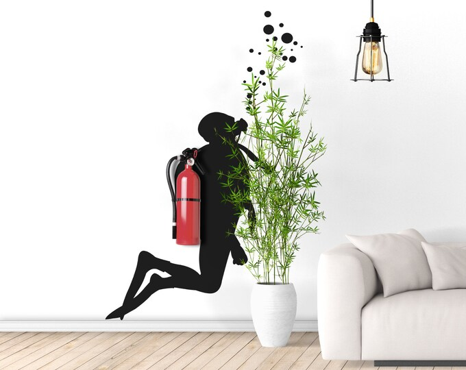 Fire Scuba Diver - Wall decals for Office Wall Decoration, Extinguisher disguise wall vinyl decal, Version 4.0
