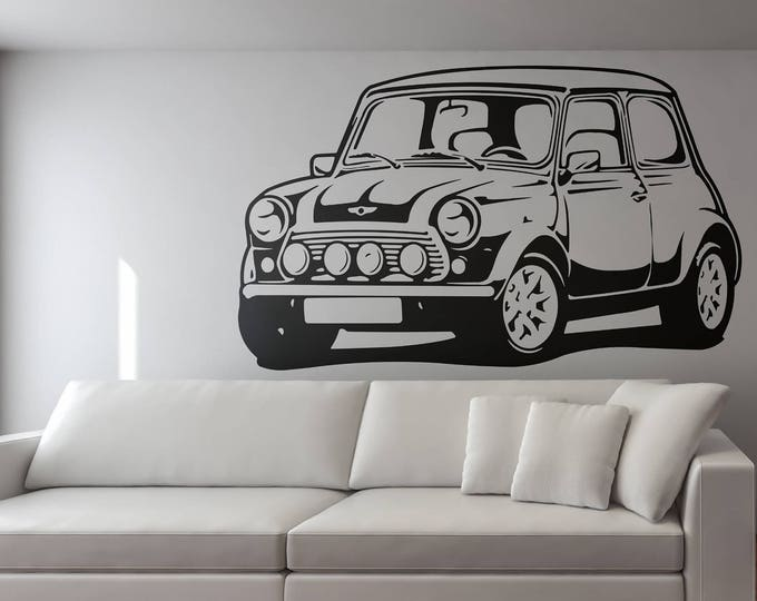 Mini Classic Car Silhouette, Old Vintage and Iconic Cars , Wall Decal / Sticker, for Home decor and Improvement, Retro Decals for Car Fans