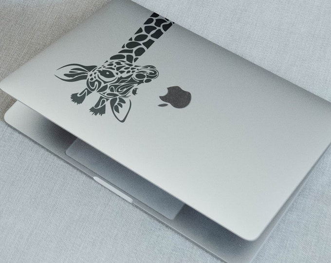 Giraffe head - Laptop decal Sticker, mac, Macbook, Decals, pro, air, retina, Stickers, Africa, African wildlife. Giraffes, Animal, Hungry