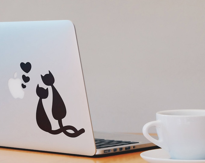 Love HappensTwo black cats in love Decal Sticker, Funny Cat Feline Hearts Valentine Valentines, mac, Macbook Decal Sticker