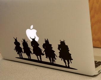 Feudal Samurai Riders Decal Sticker, Laptop Honor Warrior Ronin Valiant Courageous Noble Martial Art Bushido, mac, Macbook Decal Sticker