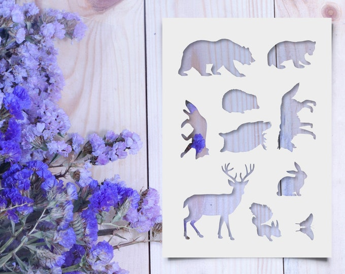 Wood Land Animals Stencil - Reusable, 220 microns - Ideal for spray paint, Aerograph design, AirBrush templates - Durable Laser Cut Template