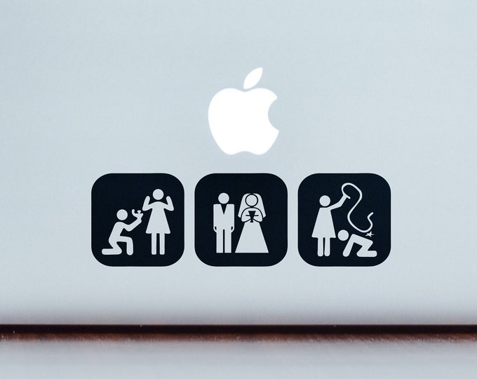 Evolution of Man according to marriage laws - Decal Sticker  | MAC, Fun, Funny, Whip Splash, Macbook, Laptop tattoo, Laptops, Epic Stickers