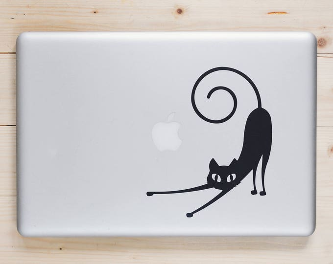 Bad Cat Stretching Decal Sticker for Macbook and other Laptops, Laptop Skin, Bad Kitty, Lazy  Sleep, Evil Cat, Bad Pussy Cat, mac