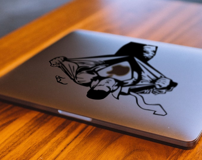 Super Hero Decal Sticker, Vinyl Sticker Skin, Funny decals, Shining Glowing Eyes, Cool and epic designs, mac, Macbook Decal Sticker