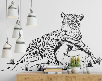Young Leopard resting on a rock Wall Decal, Majestic Animals Collection, Big Cat, Bedroom and Living room decor stickers, Wild Predator