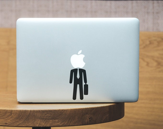 SuitCase Man Laptop Skin, Business, Case, mac, Jungle City, Old Days, Macbook Decal Sticker, Suit Man, Black Tie, Man in Black