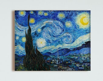 The Starry Night - 1889 - by Vincent Van Gogh - Oil on Canvas, painting, paintings, fine art, replica print, high quality prints