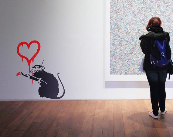 Wall decor brutalvisual studio banksy decal love rat wall decal sticker urban art artist graffiti gumiabroncs Image collections