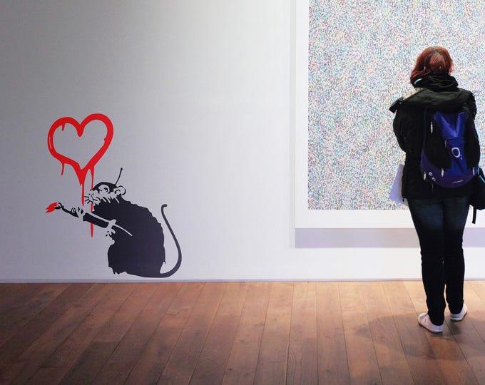Banksy decal Love Rat, Wall Decal, Sticker, Urban art, Artist, graffiti, stencil, urban walls, wallart, spray, Wall Art, wall decor, art