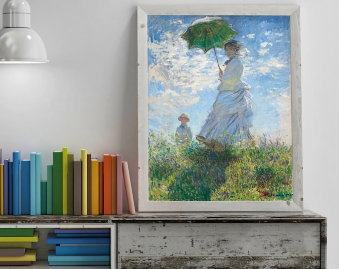 Woman with a Parasol, Madame Monet and Her Son (1875) by Claude Monet - High Quality Digital Print, Poster, Print, Canvas, Paper, etc