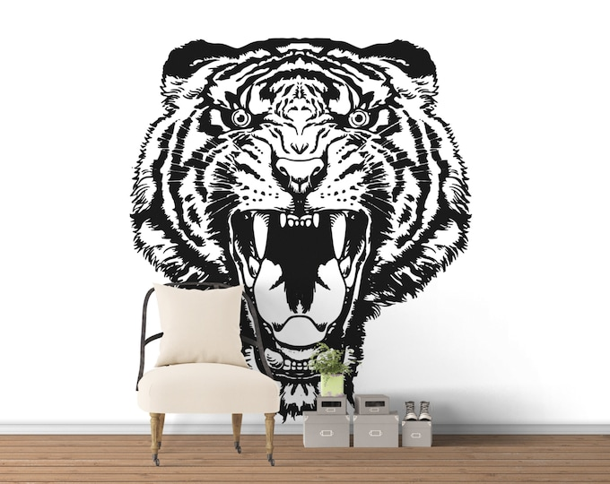 Raging Tiger Head Wall Decal, Majestic Animals Collection, Big Cat, Bedroom and Living room decor stickers, Wild Predator, Hunter, Mad Tiger