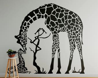 Giraffe Kissing her Baby Wall Decal, Majestic Animals Collection, Love, Bedroom and Living room decor stickers, Wild Animals