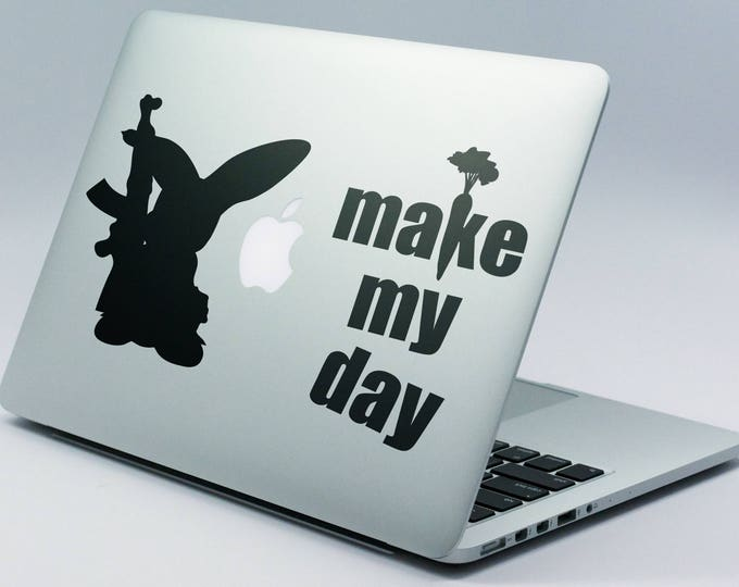 Army Easter Bunny Decal Sticker, Make my Day, Rabbit Bunnies, Bad Bunny, Rabbit with a gun, Carrot, mac, Macbook Decal Sticker