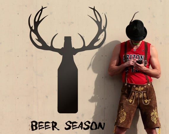 Beer Season - Funny Wall Decal Sticker, Decals for Beer hunters, Beers, Ale, Brew, Lager, Stout, Brewski, Malt, Cold Coffee, Drink