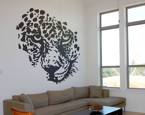 Leopard Face Silhouette, Majestic Animals Collection, Wall Gift Ideas Bedroom Living room decor Stickers Fantasy Jungle Wild Predator