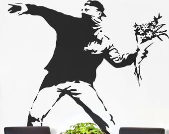 Banksy, The Flower Protester Wall Decal Sticker Banksy Style, Urban art, Artist graffiti stencil urban walls wallart spray, Wall Art Molotov