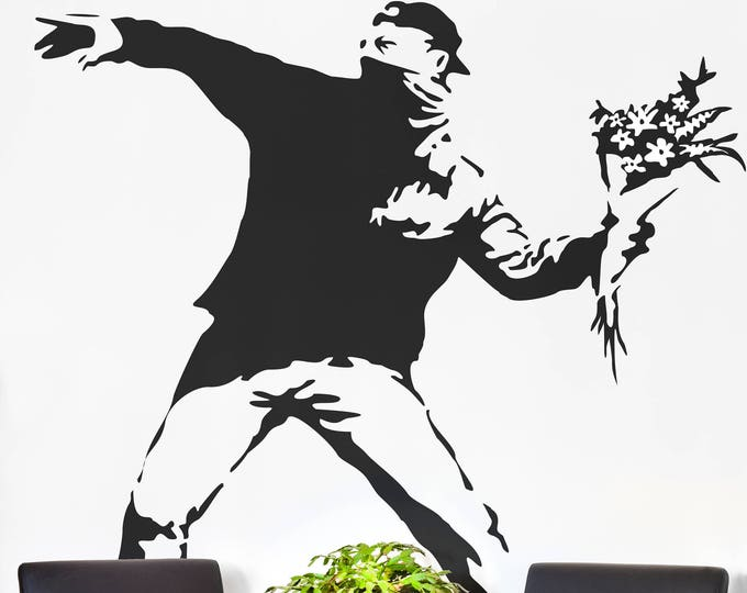 Banksy, The Flower Protester Wall Decal Sticker Banksy Style, Urban art, Artist graffiti stencil urban walls wallart spray, Wall Art Molotov