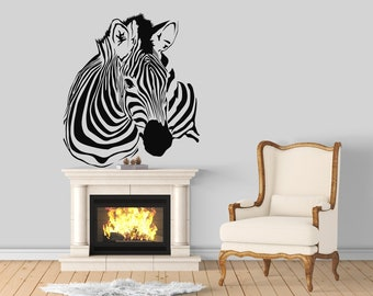 Zebra head silhouette - African Animals Wall Decal / Stickers, Jungle, Wild, Nature, African, Equids, Africa
