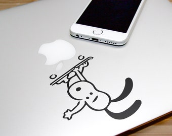 Adorable Skating Dog Decal Sticker, Laptop Macbook Skating Skate Sports Skateboarding Boardslide Heelflip, Macbook Decal Sticker