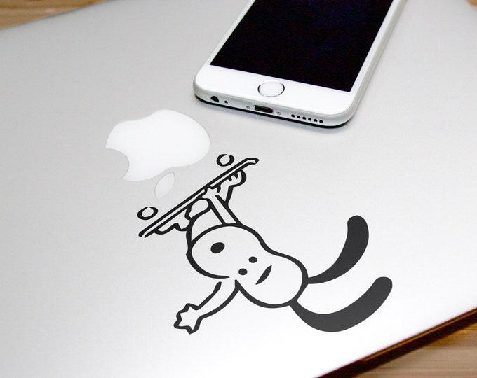 Adorable Skating Dog Decal Sticker, Laptop Macbook Skating Skate Sports Skateboarding Boardslide Heelflip, Macbook Decal Sticker