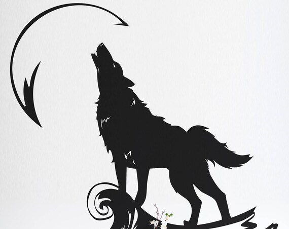 Howling Wolf at the Moon - Wall decals for magical minds, Many colors and Sizes available, Mystic collection