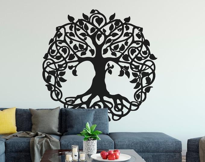 Tree of life vinyl decal / sticker for wall or window decor, Celtic inspired design, Garden of Eden, sacred tree, Charles Darwin
