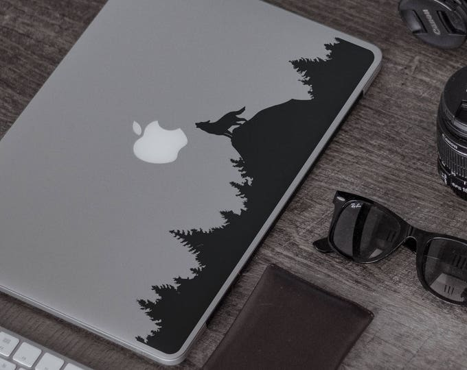 Wolf Howling to the Moon in the woodsDecal Sticker for Macbooks / Laptops, Moonlight Luna Full Moon Dark Wolves Lobo Lunar mac cover