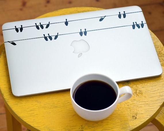 Birds on a WireDecal Sticker, Laptop Skin, mac, Sky, bird, flock, street wires, telephone and power wires, Macbook Decal Sticker