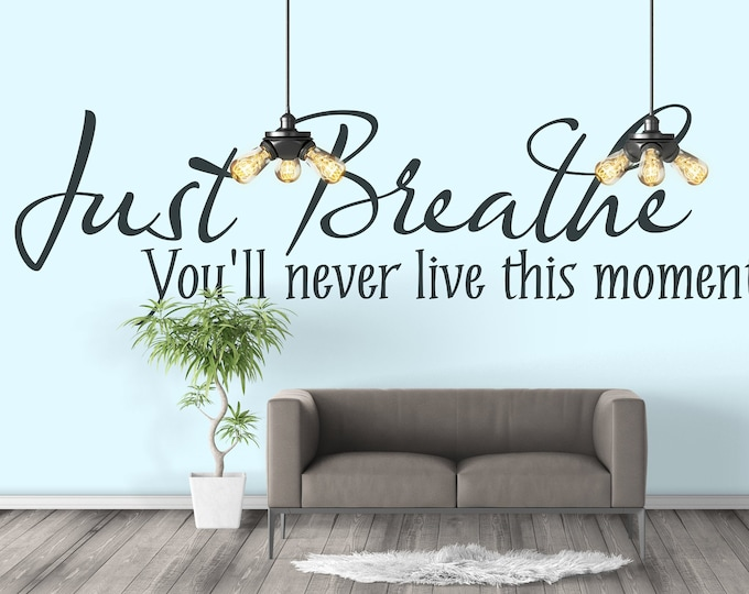 Just Breathe - You will never live this moment again - Inspiring and Motivational Vinyl Wall Decal / Sticker, Home decor, Carpe Diem