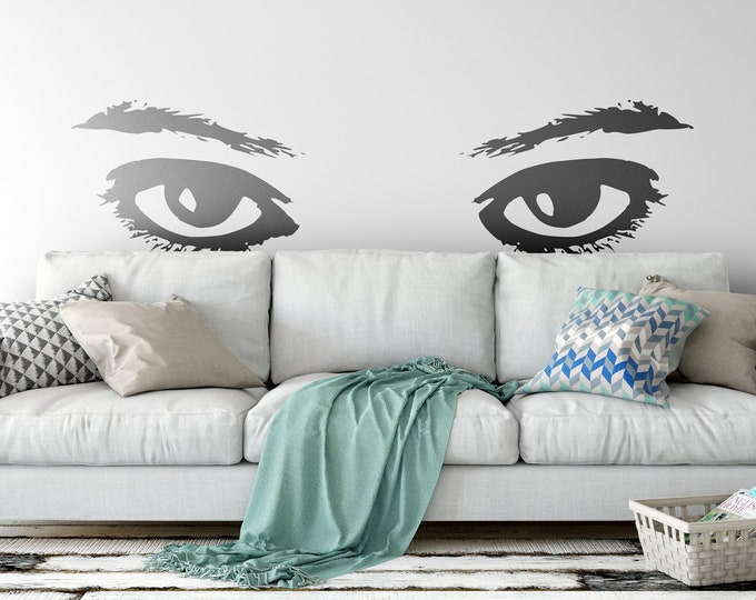 Beautiful feminine looking eyes wall decal - Interior design, Vinyl Sticker, Home and Office Decor, Wall tattoo, Bliss, Gazing, Gaze