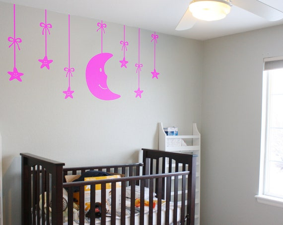 Moon and Stars Wall Decal Nursery based theme - Wall decor for kids rooms, Children playrooms, Nurseries , Magical Minds Decal Collection