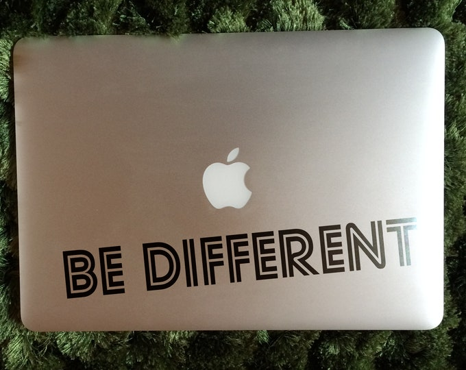 Be DifferentMotivational Decal Sticker, Laptop Skin, Mac, Decals, Inspiring, Typography, Statement, Gift, Macbook Decal Sticker