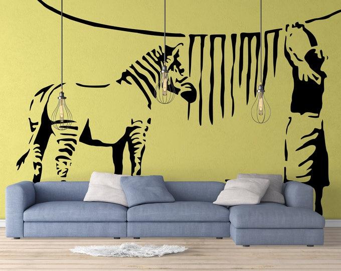 Banksy Zebra Stripe Washing Lady Wall Decal Sticker, Street art, zebras, artist, graffiti, stencil, urban walls, wallart, spray, paint
