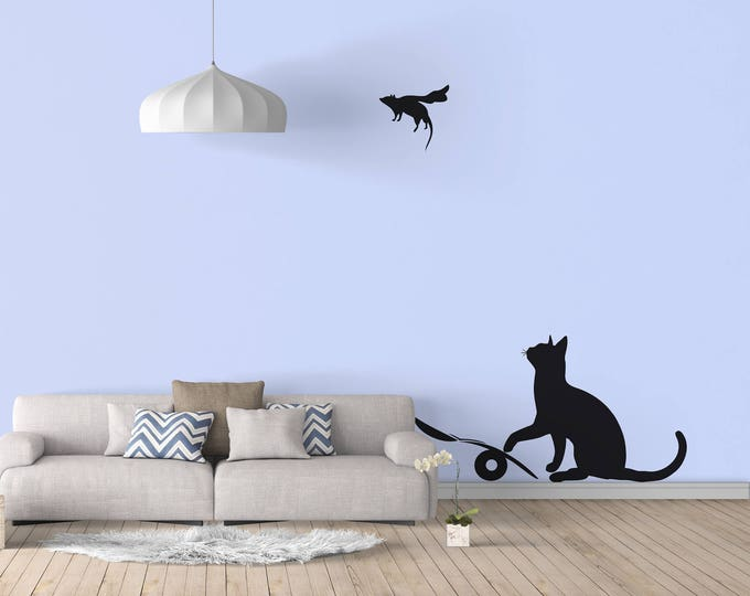 Banksy, Cat and Mouse Wall Decal Sticker Banksy Style, Urban art, Artist graffiti stencil urban walls wallart spray, Wall Art, Cat & Mouse