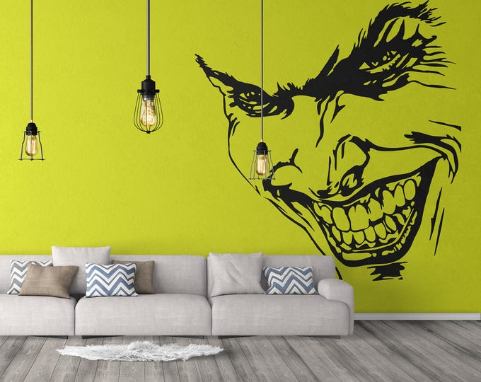 Joker Decal - Fantasy collection for wall decor, Joker Villain Grin Smile Sticker, Motion Picture, Movie characters decals, tattoo