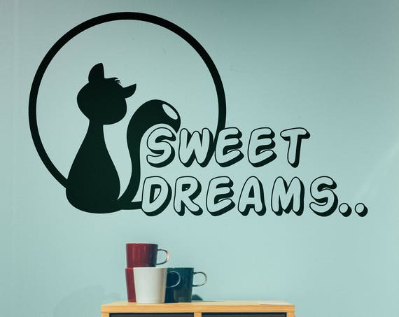 Sweet Dreams Cat, Sticker, Wall Decal, Decor for kids rooms, Children playrooms, Nurseries, Play Yards , Magical Minds, Decal,