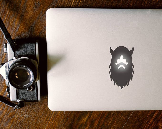 Viking Decal Sticker, Vikings I Víkingr Berserk Vikinger Víkingar, Logo light glows up Viking face, mac, Macbook Decal Sticker