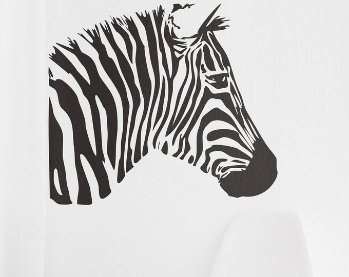 Looking Zebra Bust - African Animals Wall Decal / Stickers, Jungle, Wild, Nature, African, Equids, Africa