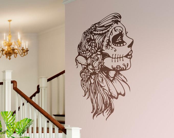 La Calavera Catrina - The beautiful candy skull Decal Sticker, Skulls, Day of the Dead, Dia de los muertos, Mexico, Wall Decal - Sideway