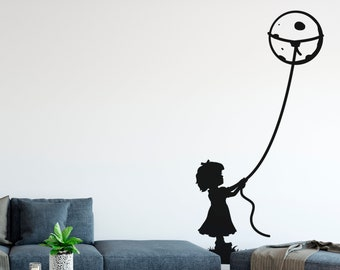 Rope the Moon - Adorable fantasy imaginary universe - Wall Decal for Home Decor, Inspiring, Wall tattoo, Interior Design, Kids, Dream big