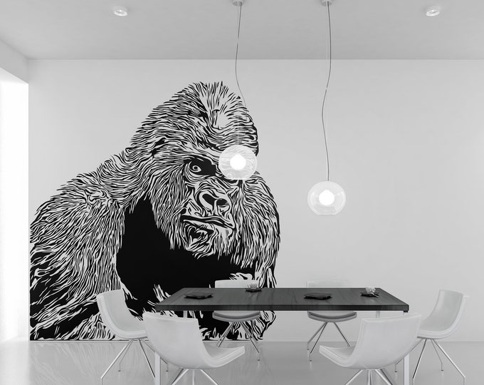 Looking Gorilla Wall Decal Template - Digital Cut File - Ready to cut, print or both [svg - pdf - dxf - png - jpg - ai - eps - plt - dwg]