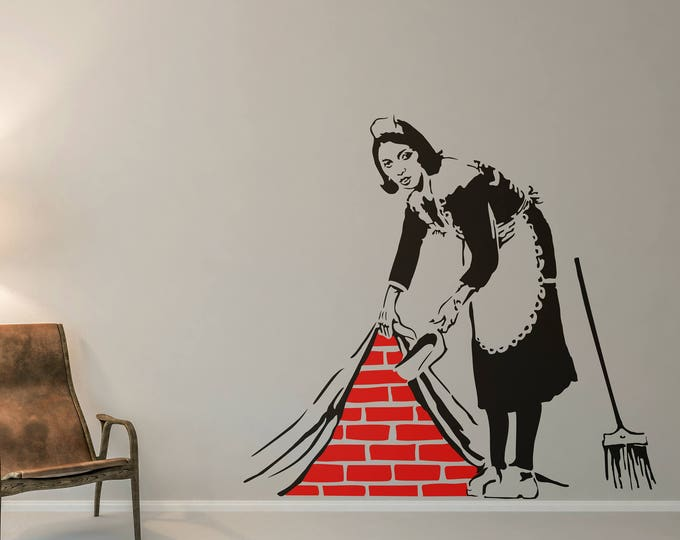 London Cleaning Lady, Wall Decal, Sticker, Street art, artist, graffiti, stencil, urban walls, wallart, spray, paint, stencil, London Maid