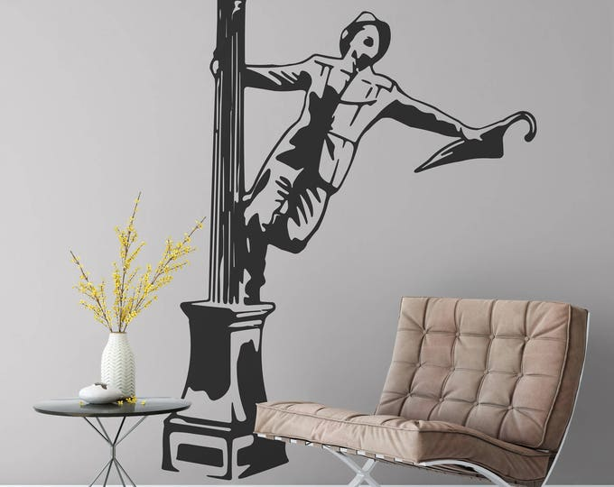 Happy Man singing in the rain by a lamp pole, Wall Decal Silhouette, Wall Sticker, Glorious Feeling, Joy, Head over heals, Home decor