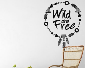 Wild and Free - Boho Necklace style decal - Motivational wall decal Sticker in Vinyl, Adorable Decals, Nature Wilderness Free Spirit Lovely