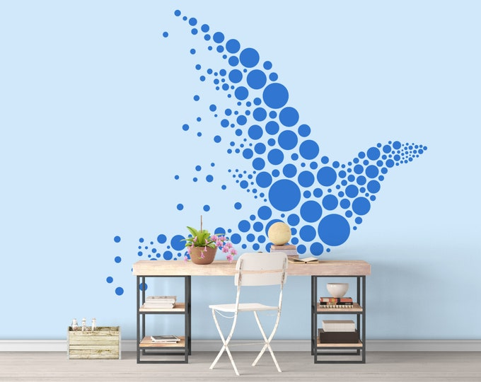 Polka Dot Styled Bird Design - Wall Decal, Decals, Bedroom and Living room decor, Wall Tattoo, birds, Silhouettes, Interior Design, Decor