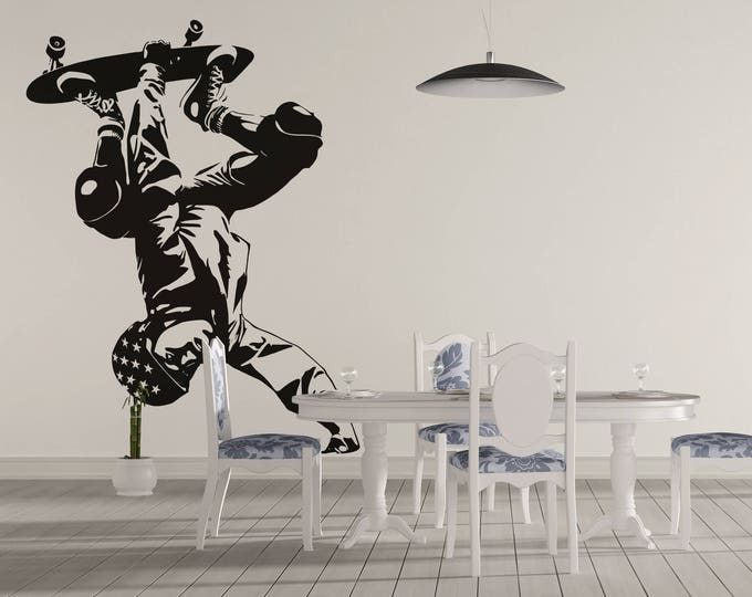Radical Skater wall decal / Sticker in Vinyl, Epic Decals for wall decor, Fearless Audacious Courageous Strong Daring Sports Skate