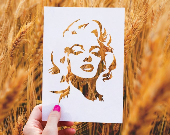 Marilyn Monroe Stencil - Reusable, 220 microns - Ideal for spray paint, Aerograph design, AirBrush templates - Durable Laser Cut Template