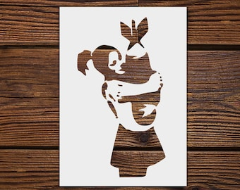 Bomb Girl Stencil - Reusable, 220 microns - Ideal for spray paint, Aerograph design, AirBrush templates - Durable Laser Cut Template
