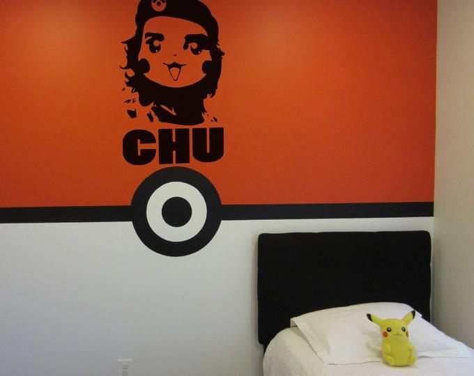 Funny Pikachu Wall Decal, El CHU, pokemon, sticker, fan art, wall art, pikachu transformative art, Wall decals, pokemon go